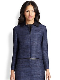 Akris Punto - Silk Contrast-Collar Cropped Jacket
