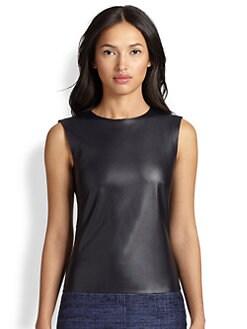 Akris Punto - Faux Leather & Jersey Sleeveless Top