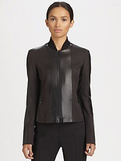 Akris Punto - Leather-Paneled Wool Jacket