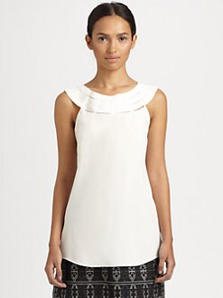 Akris Punto - Silk Laser Cut-Neckline Top