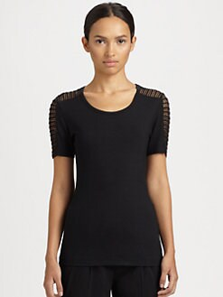 Akris Punto - Cutout Embroidered-Panel Stretch Jersey Tee