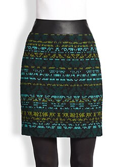 Akris Punto - Faux Leather-Trimmed Jacquard Skirt
