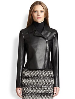 Akris Punto - Faux Leather & Jersey Moto Jacket