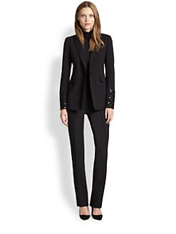 Akris Punto - Beaded-Cuff One-Button Blazer
