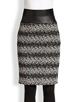 Akris Punto - Faux Leather-Trimmed Tweed Pencil Skirt