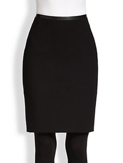 Akris Punto - Faux Leather-Trimmed Jersey Pencil Skirt