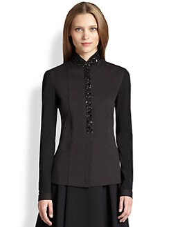 Akris Punto - Beaded Jersey-Sleeve Blouse