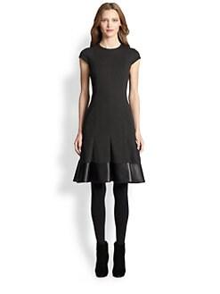 Akris Punto - Faux Leather-Trim Flounce-Hem Dress