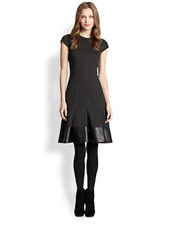Akris Punto - Faux Leather-Trim Flounce-Hem Dress