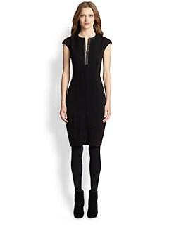 Akris Punto - Faux Leather-Trim Boucle Dress