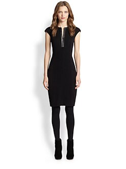 Akris Punto - Faux Leather-Trim Boucle Dress