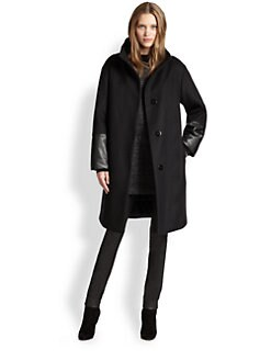 Akris Punto - Oversized Wool & Faux Leather Coat