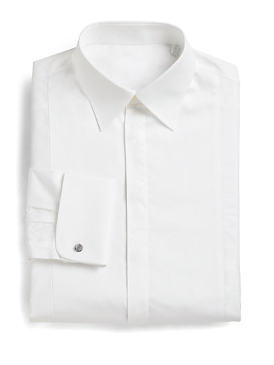 Slim-Fit French Cuff Tuxedo Shirt $203.06 AT vintagedancer.com