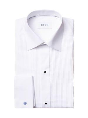 Slim-Fit Pleated-Bib Formal Shirt