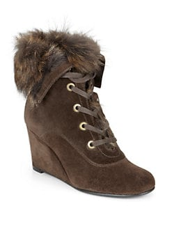 Stuart Weitzman - Pilot Suede Wedge Ankle Boots/Coffee