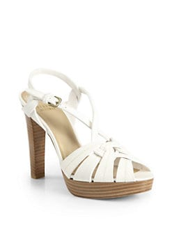 Stuart Weitzman - About Face Leather Double Platform Sandals/Ivory
