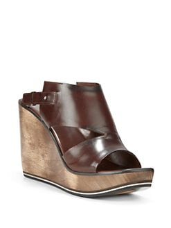 Costume National - Cutout Leather Wedge Sandals