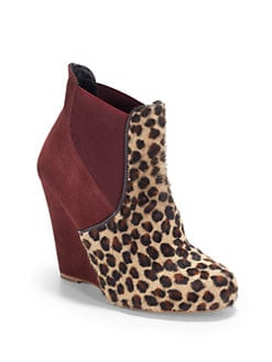 Candela - Leigh Pony Hair & Suede Wedge Ankle Boots