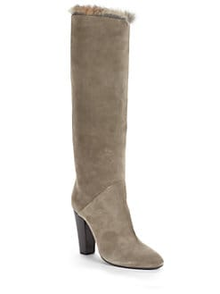 Giuseppe Zanotti - Suede Fur-Lined High Heel Boots