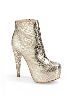 Alice + Olivia - Paige Foiled Croc-Embossed Ankle Boots