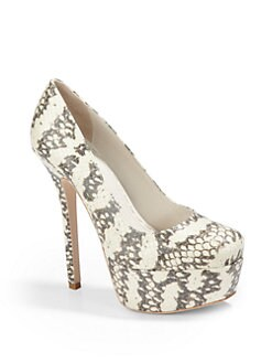 Alice + Olivia - Larimore Snake-Embossed Platform Heels