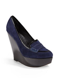 Alice + Olivia - Saffi Suede Platform Wedge Loafers