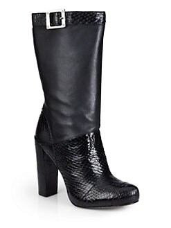 Rachel Zoe - Claudia Snakeskin & Leather Ankle Boots