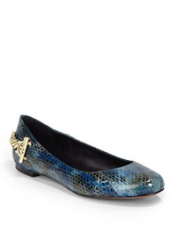 Rachel Zoe - Laura Snakeskin Chain Ballet Flats