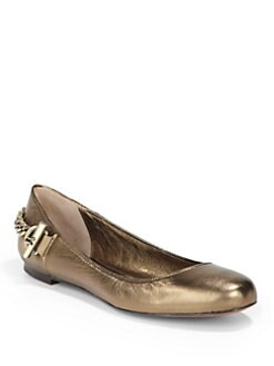 Rachel Zoe - Laura Metallic Leather Chain Ballet Flats