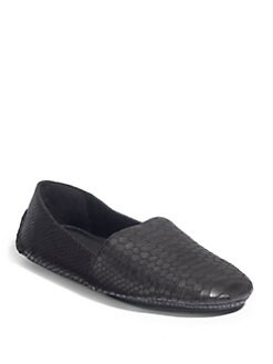 Eileen Fisher - Map Snakeskin-Embossed Driving Moccasins