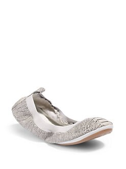 Yosi Samra - Dinosaur Textured Fold-Up Ballet Flats