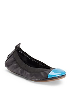 Yosi Samra - Patent Cap Toe Fold-Up Ballet Flats