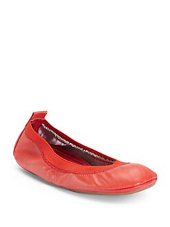 Yosi Samra - Leather Fold-Up Ballet Flats