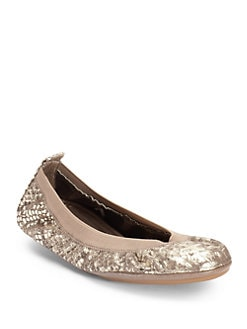Yosi Samra - Metallic Snake-Embossed Fold-Up Ballet Flats