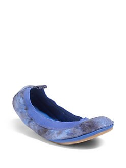 Yosi Samra - Tie-Dyed Snakeskin Print Fold-Up Ballet Flats