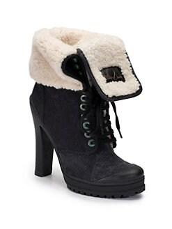 Philip Simon - Kevoik Canvas & Shearling Ankle Boots/Black