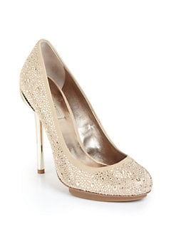 BCBGMAXAZRIA - Prish Studded Island Platform Pumps/Champagne