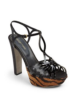 Sergio Rossi - Patent Leather, Pony Hair & Stingray-Embossed Platform Sandals