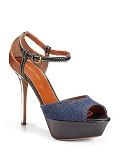 Sergio Rossi - Denim & Leather Platform Sandals