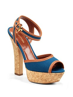 Sergio Rossi - Canvas Cork Platform Sandals