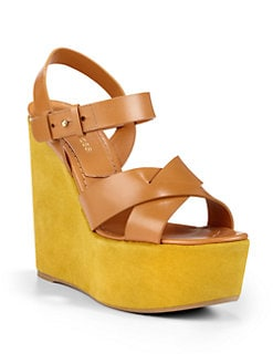 Sergio Rossi - Leather & Suede Wedge Sandals