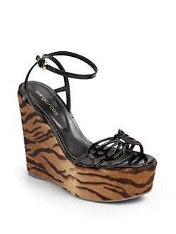Sergio Rossi - Patent Leather & Pony Hair Wedge Sandals