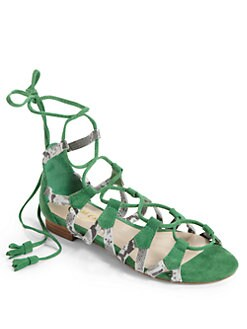 Candela - Stella Gladiator Sandals/Green Snake