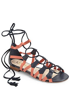Candela - Stella Gladiator Sandals/Navy & Coral