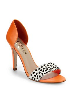 Candela - Effe Leather & Haircalf Sandals/Orange