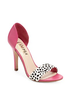Candela - Effe Leather & Haircalf Sandals/Pink