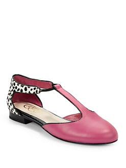 Candela - Steph Leather & Haircalf Ballet Flats/Raspberry