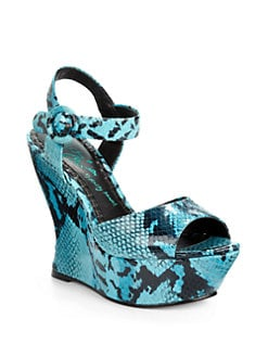 Alice + Olivia - Jana Snakeskin-Embossed Leather  Wedge Sandals