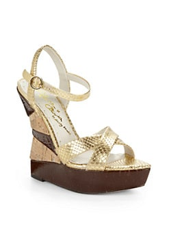 Alice + Olivia - Cate Metallic Viper Wedge Sandals