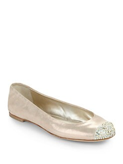 Giuseppe Zanotti - Crystal Cap Toe Suede Ballet Flats